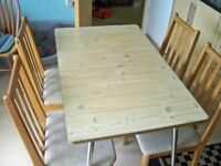 4no PINE HIGH BACK DINING ROOM CHAIRS WITH TABLE