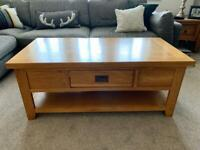 Country Oak Large Push-Pull Drawer Coffee Table With Shelf