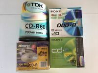 A selections of blank recordable CDs and DVDs