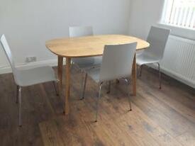 Folding diningroom table and 4 chairs