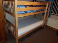 Solid Oak Bunkbeds Complete With Mattresses