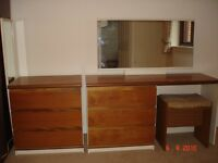 Dressing table, mirror and additional matching chest of drawers