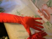 New woman's red satin ling evening gloves