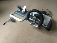 Xbox 360 Steering wheel and pedals with gaming chair
