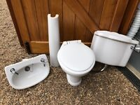 Toilet, Wash hand basin with taps and pedestal ideal for rental property