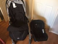Joie Pushchair with a baby car seat, Joie highchair, wooden kitchen walker and a rocking horse!.