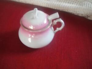 OLD MUSTARD/JAM CHINA POT WITH CHINA SPOON