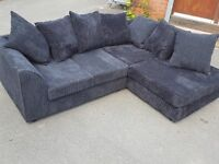 Very nice black cord corner sofa. 1 month old. clean and tidy. can deliver