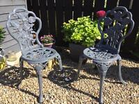 2 x Solid Cast Iron Garden Chairs