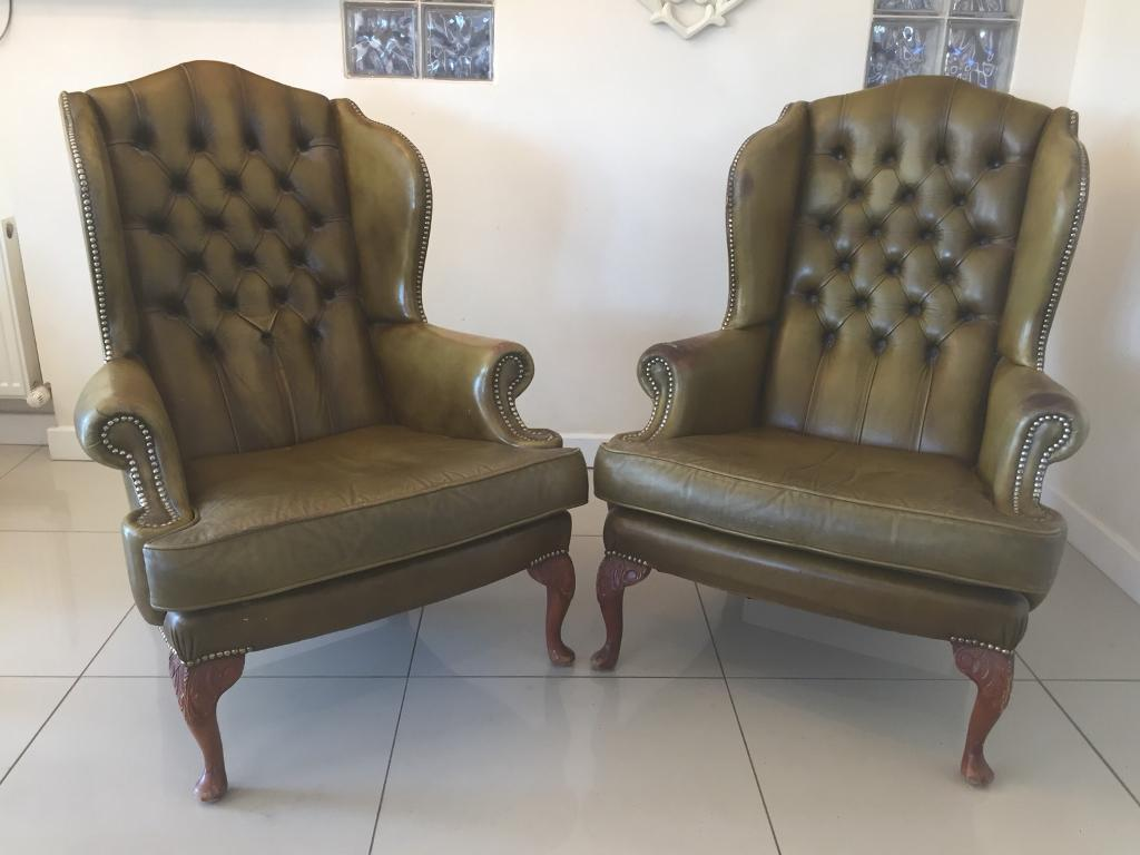 b54bbac699a3 STUNNING PAIR OF LARGE VINTAGE GEORGIAN WING BACK CHESTERFIELD QUEEN ANNE  CHAIRS