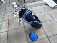 Golf clubs full set of howson irons. Driver, ben Sayers 3 wood, putter & hippo stand golf bag