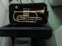 Cornet and case with music stand.