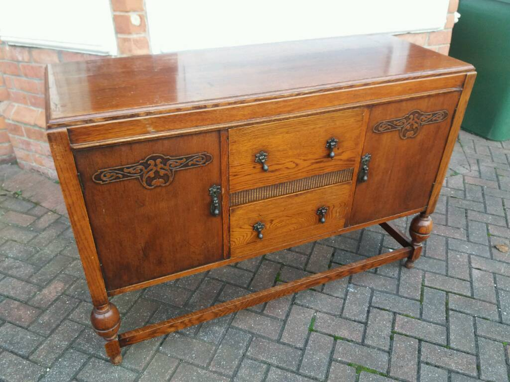 Lovely old solid wood sideboard with mirror
