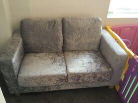 Velvet crush sofa silver