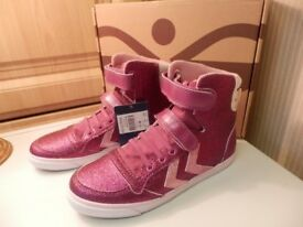 BNIB Hummel Childrens Wild Aster Pink Stabil JR Glitter High Top Trainers UK Size 4 & 5 RRP £49.99
