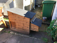 Wooden Chicken Coop, 3-4 Birds, used but like new- less than 1 year old, cleaned & freshly creosoted
