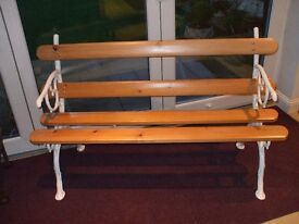 Antique, Caste and Wooden Slat, Garden Seat