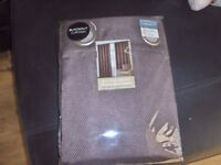 BLACKOUT WOVEN BROWN LINED EYELET CURTAINS 66in x72inn bnip.
