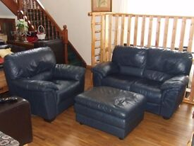 LEATHER 2 SEATER & ARMCHAIR SUITE