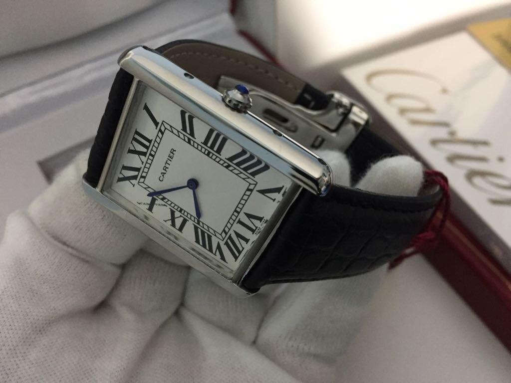 New Swiss Men S Cartier Tank Solo Watch Leather Strap