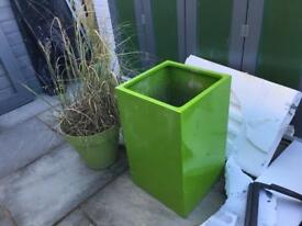 Fibreglass Tall Cube Gel Coat Planter in Lime