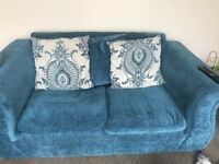 Teal and White 2 person Sofa + Large Cuddle chair (swivels)