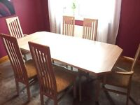 Lime oak extendable dining table with 6 chairs