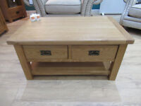 Brand New Ex display 2 Drawer Coffee Table. Constructed from solid oak, veneers and pine Sideboard.