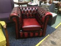 Chesterfield Club Chair in Ox blood Leather.