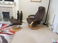 STRESSLESS 100% LEATHER CHAIR WITH MATCHING FOOTSTOOL IN DARK BROWN