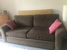 Brown Next sofa and armchair