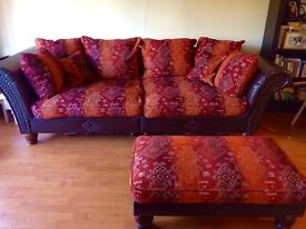 Large couch with footstool