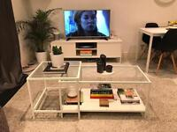 White IKEA coffee table nest - glass and metal