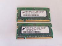 Micron 2x1GB DDR2 PC2-5300 667MHz SO DIMM 200-pin Memory (MT8HTF12864HDY-667E1)