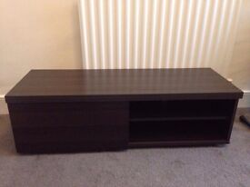 Brown Wood Effect TV Unit with Sliding Front