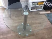 Modern round glass dining table, 90cm diameter