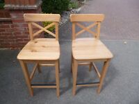 Pair of Ikea Ingolf breakfast bar stools, vgc