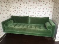 Large Green velvet 3 seater sofa from Made, super comfy and really spacious