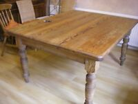 LARGE VICTORIAN STYLE PITCH PINE FARMHOUSE KITCHEN DINING TABLE