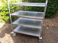 Commercial Catering SS Trolley, castors and brakes, near new condition. New price is £485.