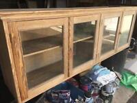 Old Oak glazed wall cupboard