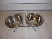 Raised Stainless Steel Dog Food and Drink Feeding Bowls