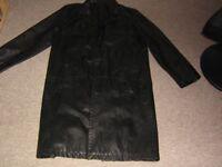 gents black leather 3/4 length coat