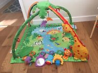 Fisher price rainforest melodies and lights deluxe jungle gym/baby play mat