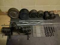 Cast iron weights, barbells and bumbells