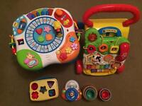 Vtech first steps baby walker, 8-1 activity table, fisher price first blocks and more