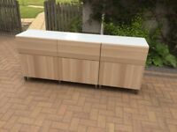 Ikea Sideboard with Shelves and Drawers with Tempered Glass top- Good Condition £75.00.