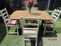 Vintage Solid Oak drop leaf table 4 priory oak chairs 2 carvers upholstered Shabby Chic Ochre