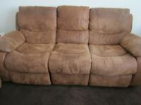SOFA , Bel Air 3 Seater with 2 recliner Actions: Cover Faux Suede, colour Tan