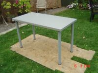 Office Desk / Table. Grey Top with Grey Metal Legs. Good Condition. Can Deliver.